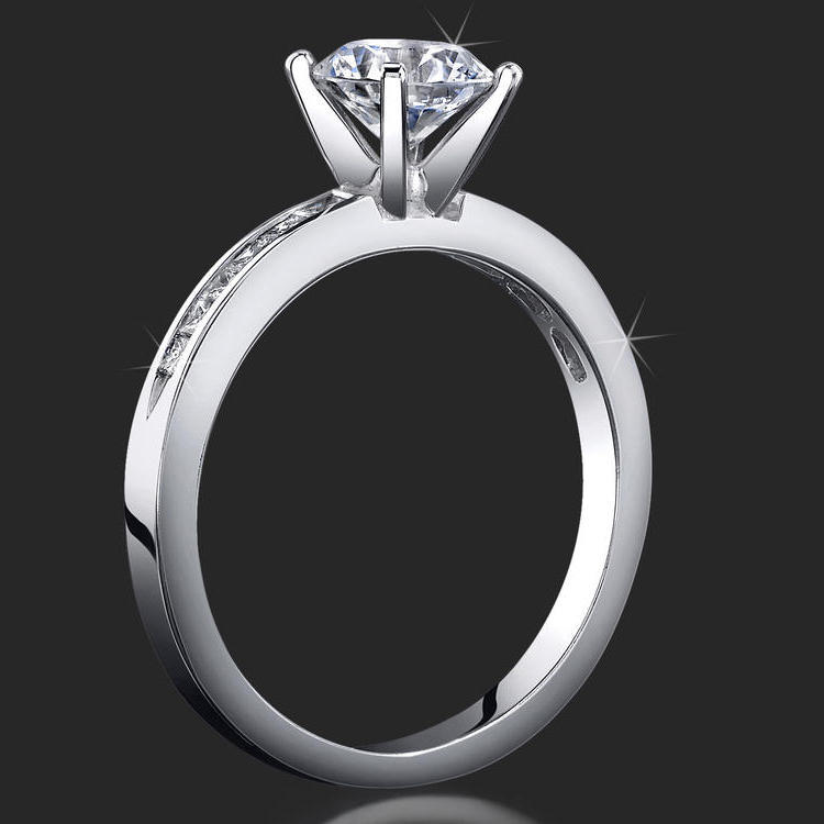 Petite 4 Prong Round Setting With Channel Set Princess Cut
